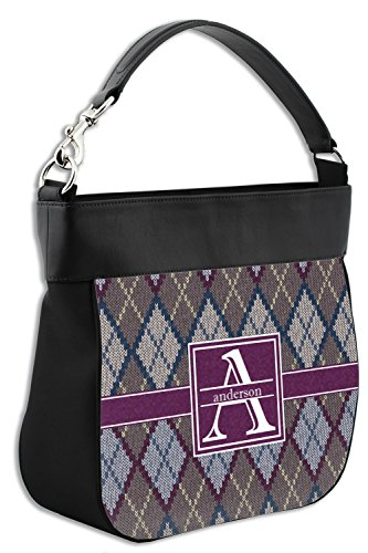 Personalized Genuine amp; Hobo Trim Leather Purse Front Argyle w Knit Back gRwqvRZ