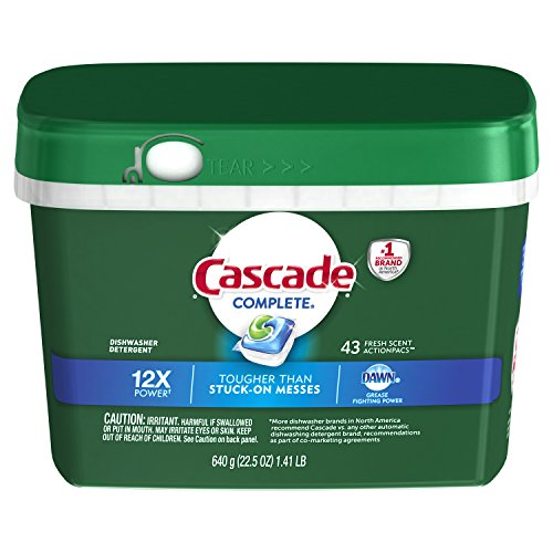 Cascade Complete Dishwasher Detergent, Fresh Scent, 43 Count (Cascade Complete All In 1 Actionpacs Dishwasher Detergent)