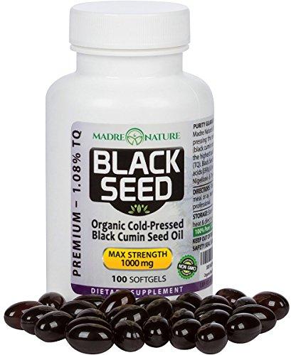 Premium Organic Black Cumin Seed Oil Capsules Max Strength 1000 Milligram Per Serving | Darkest, Highest TQ Content 1.08 Percent | Nigella Sativa | Undiluted | Cold Pressed | Virgin Oil