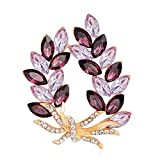 ptk12 Coat Accessories Purple Crystal Flower Casual Party Bouquets Rhinestone Brooch