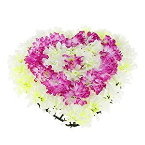 SM SunniMix Artificial Heart Wreath Chrysanthemum Cemetery Flowers Tombstone Saddle Outdoor Grave Decor - Purple 55