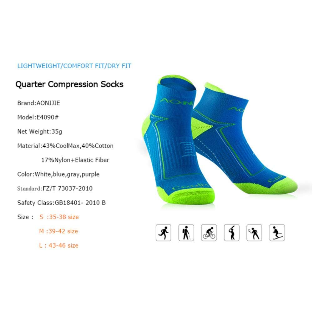 Athletic Socks,Outdoor Running Performance Tab Training Cushion Quarter Compression Heel Shield Cycling