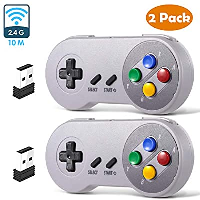 2 Pack SNES Retro USB Super Controller Gamepad Joystick, USB PC Super Classic Controller Joypad Gamestick for Windows PC MAC Linux Raspberry Pi 3 Sega Genesis Higan Grey/Purple