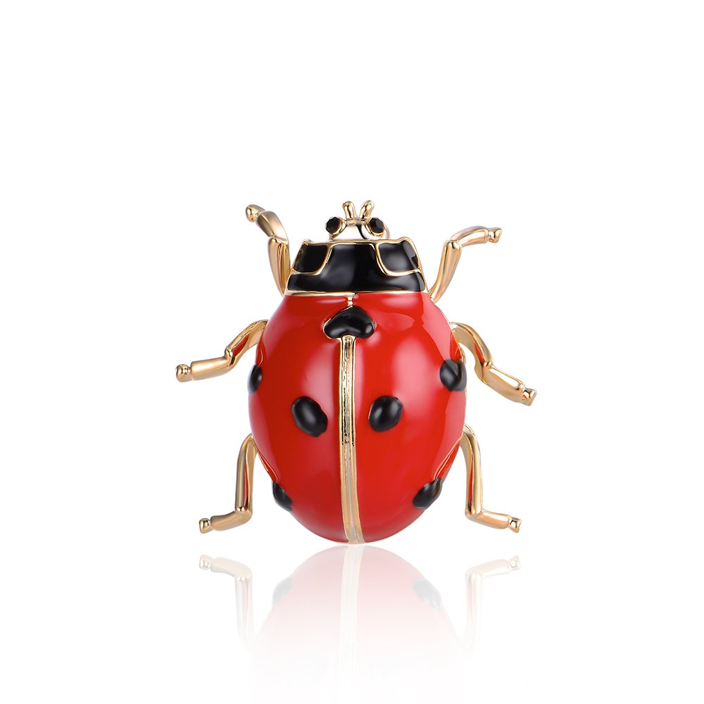 Mytys Cute Red Lady Bug Brooches Insert Brooch Enamel Pin for Women Girl Kid Gift (Lady Beetle)