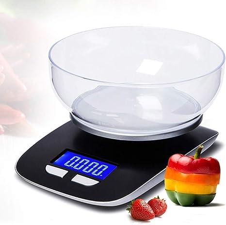 Opinión sobre Báscula de Cocina Casa Balanza Electrónica de Cocina Cocinar Los Alimentos Escala de Pesaje 5 Kg de Capacidad LCD Báscula Digital de Cocina con Tazón de Escamas