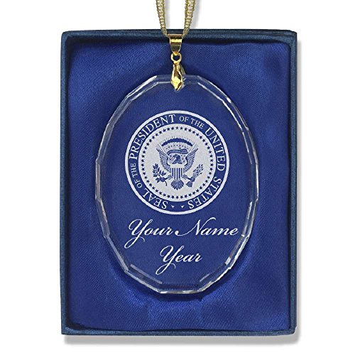 Oval Crystal Christmas Ornament - Presidential Seal - Personalized Engraving Included (Tree Presidential Christmas)
