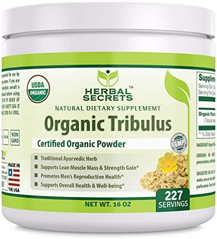 Herbal Secrets USDA Certified Organic Tribulus Powder 16 Ounces (Non-GMO) 227 Servings - Supports Lean Muscle and Strength Gain,Overall Health and Well Being, Promotes Men's Reproductive Health*