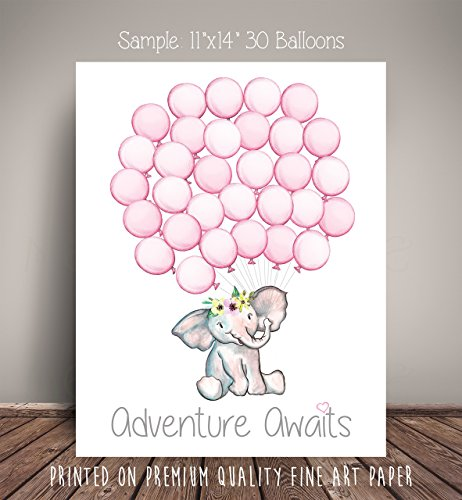 Pink Floral Watercolor Elephant Baby Shower Guest Book Alternative, Nursery Art Print, Balloon Guest Book, Adventure Awaits, ships within 3 Business Days WCE-BL-FL-PP