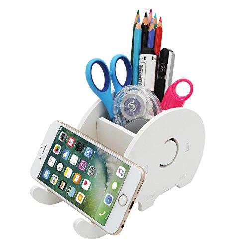 Cell Phone Stand, Creative Elephant Phone Stand Tablet Desk Bracket,Pencil Holder,Desk Supplies Organizer,Desk Storage Rack (White)