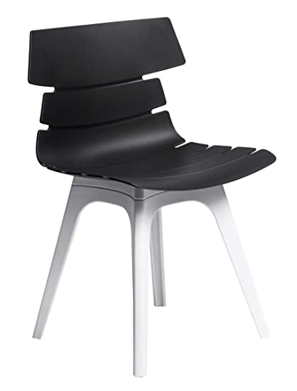 Finch Fox Techno DSW Stylish & Modern Furniture Leaf Plastic Chairs for Cafeteria Seating/Dining Chair/Side Chair/Kitchen / Restaurants/Hotels (Black & White Color) Exclusive Design