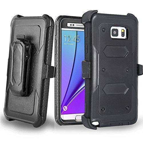 J.west Galaxy Note 5 Case, Samsung Galaxy Note 5 Case Shockproof Heavy Duty Hybrid Full Body Rugged Holster Protective Case for Samsung Galaxy Note 5 with Kickstand/Belt Clip (Black)