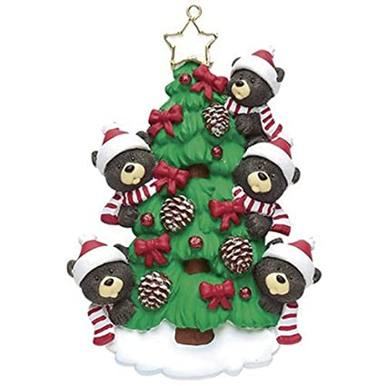 1b89d59d2f2 Personalized Christmas Ornaments 2017 Red Ribbon Tree Family of 5 Holiday  Black Bear Ornaments Cute Parents