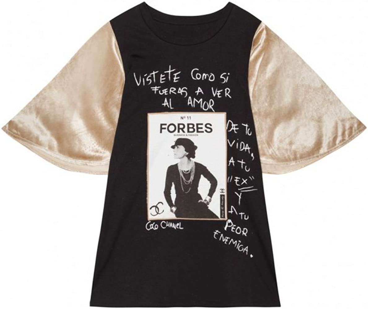 KEEP & TRENDY Camiseta Forbes Negra Manga Corta Terciopelo Dorado (M): Amazon.es: Ropa y accesorios