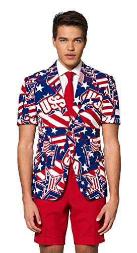 OppoSuits American Flag Suit for Men - USA Outfit for The 4th of July with Red White and Blue Jacket, Pants and Tie ()