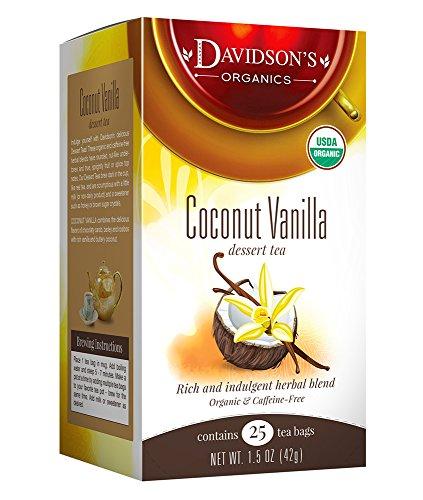 Davidson's Tea Coconut Vanilla, 25-Count Tea Bags, 1.5 Oz (Pack Of 6)