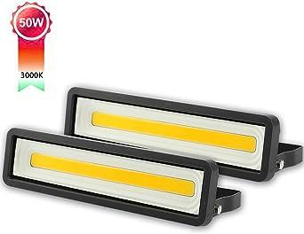 Lote de 2 Focos LED exteriores 30W 2400LM Parque Luz de Seguridad Blanca C/álida 3000K para Terraza Potente Luces Led Exterior IP66 Jard/ín Patio Garaje