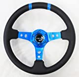 NRG Steering Wheel - 16 (Deep Dish) - 350mm (13.78 inches) - Black Leather with New Blue Spokes / Blue Double Center Markings - Part # ST-016R-NB