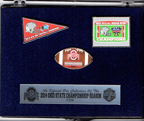 Ohio State Buckeyes 2015 Championship 3 Pin Collector Set - Big 10 Champions, Sugar Bowl Champions, National (Ohio State Buckeyes Sugar)