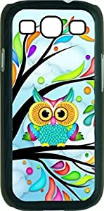 Colorful Owl in a Tree - Case for the Samsung Galaxy S3 i9300 -Soft Black Rubber Case with a Swinging Open-Close Flap that Covers the screen