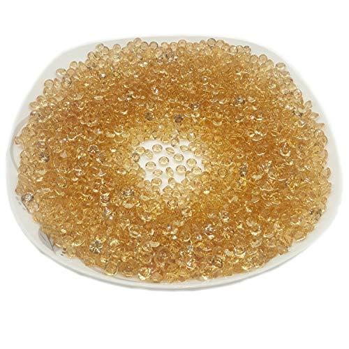AiFanS Acrylic Diamonds,Gold Acrylic diamond,Acrylic Diamond Gems for Table Scatter Or Table Confetti,6mm Pack of 2000Pcs