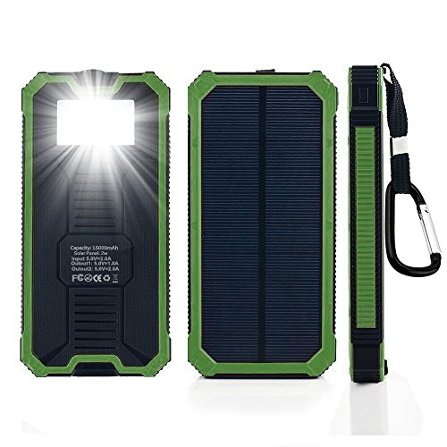 Solar Power Bank 15000mah Portable Dual USB Ports Solar Cell Phone Charger External Backup Bettery Pack with 6 LED Flashlight for iPhone iPad Samsung and More (Green)