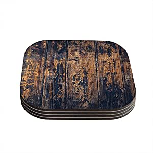 """KESS InHouse Susan Sanders """"Barn Floor"""" Rustic Coasters (Set of 4), 4 by 4"""", Multicolor"""