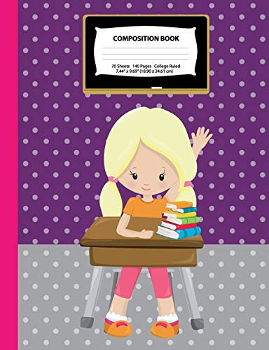 Composition Book: College Ruled - Blonde Girl w/Ponytails in Class - 140 Pages (70 Sheets) - 7.44