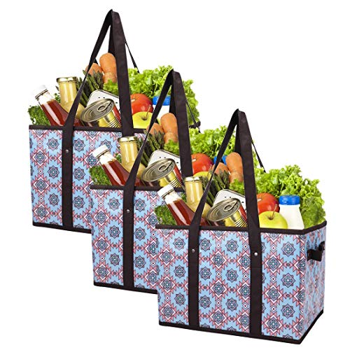 Foraineam Reusable Grocery Bags Set Durable Heavy Duty Tote Bag Collapsible Grocery Shopping Box Bag with Reinforced Bottom, Pack of 3 -
