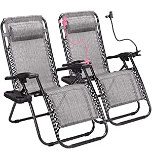 Superworth Set Of 2 Folding Zero Gravity Chairs Sun Lounger Recliner Beach Patio Garden Camping Outdoor 135KG Capacity