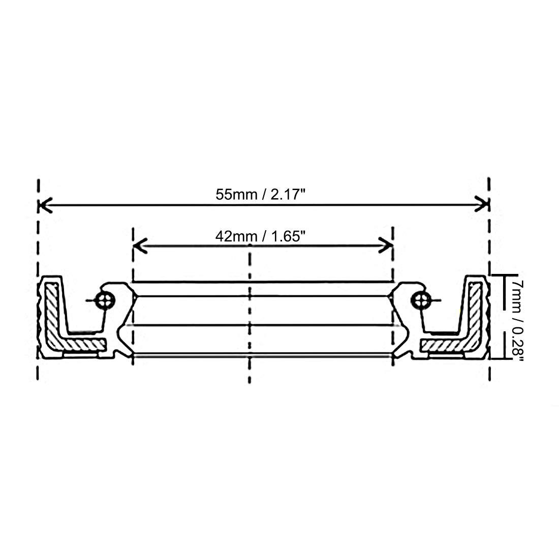 sourcing map /Ölsiegel TC 38mm x 62mm x 8mm Nitrile Gummi Deckel Doppellippe de