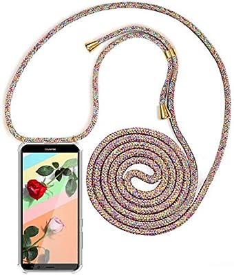 Bigcousin Funda con Cuerda Compatible con Huawei Mate 20 Pro,Transparente de TPU con Ajustable Collar Cadena Cord/ón,Gris