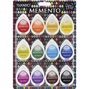 Tsukineko MD-012-100 12-Piece Assortment Memento Dew Drops Fade-Resistant, Gum Drops