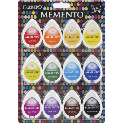 Tsukineko MD-012-100 12-Piece Assortment Memento Dew Drops Fade-Resistant, Gum Drops by Tsukineko