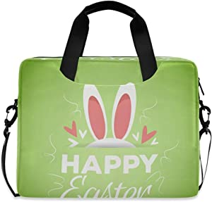 Happy Easter Bunny's Ears Green Laptop Case 15.6 Inch Carrying Protectiv Case with Strap