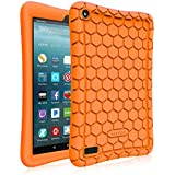 Fintie Silicone Case for All-New Amazon Fire 7 Tablet (7th Generation, 2017 Release) - [Honey Comb Upgraded Version] [Kids Friendly] Light Weight [Anti Slip] Shock Proof Protective Cover, Orange