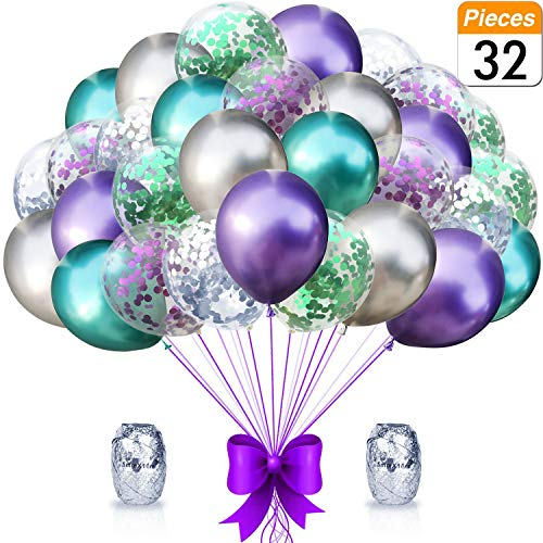 Mermaid Party Balloons Supplies Birthday Decorations Pack of 32 - Green and Purple Metallic Balloons with Glitter Confetti Clear Sparkle Decorations Party Balloon Kit for Birthday