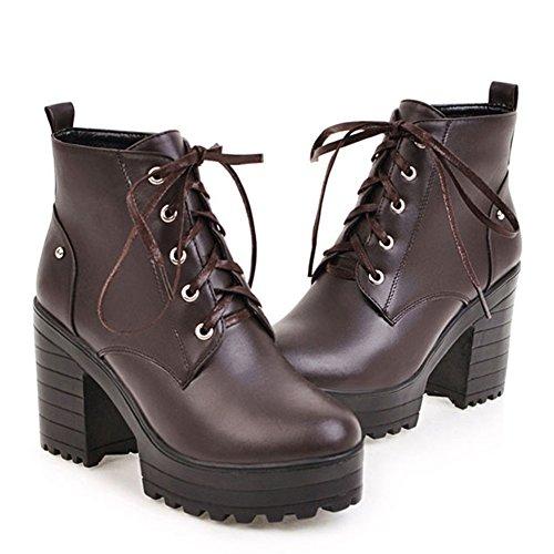à lacets Botte à talons Bottes Marron bloc imperméable Lace HiTime chunky Boots Ladies up Classic wnBTXSq