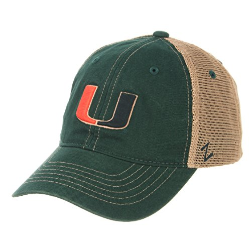 Ncaa Miami Hurricanes Canes - Zephyr NCAA Miami Hurricanes Men's Institution Relaxed Cap, Adjustable, Green
