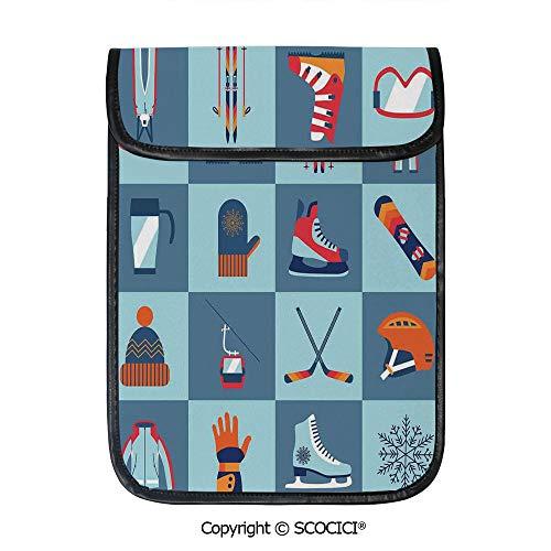 (SCOCICI iPad Pro 12.9 Inch Sleeve Tablet Protective Bag Ice Skating Winter Sports Skiing Boot Cap Glasses Glove Helmet Skates Snowboard Print Custom Tablet Sleeve Bag Case)