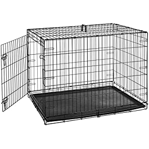 AmazonBasics Single Door Folding Metal Cage Crate For Dog or Puppy – 42 x 28 x 30 Inches