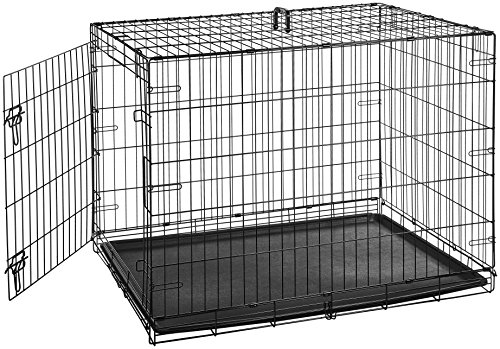 AmazonBasics Single Door Folding Metal Cage Crate For Dog or Puppy - 42 x 28 x 30 - Wire Home Training