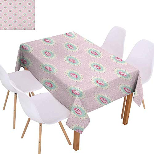 Marilec Polyester Tablecloth Shabby Chic Retro Style Polka Dotted Backdrop and Floral Motifs Roses Cottage Party W60 xL84 Baby Pink White - Petal Cottage Rose New