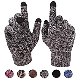 Achiou Winter Knit Gloves Touchscreen Warm Thermal Soft Lining Elastic Cuff Texting Anti-Slip 3 Size