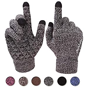 Achiou Winter Knit Gloves Touchscreen Warm Thermal Soft Lining Elastic Cuff Texting Anti Slip 3 Size Choice For Women Men