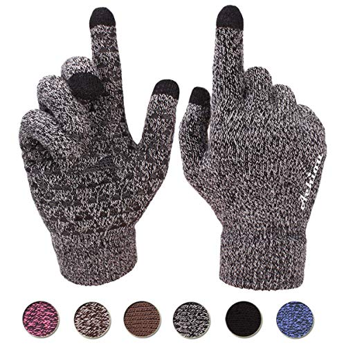 Achiou Winter Warm Touchscreen Gloves for Women Men Knit Wool Lined Texting (Black & White, X-Large)