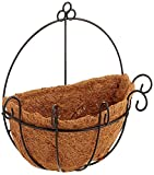 JOANNA'S HOME Metal Wall Planter Hanging Basket with Coco Coir Liner Half Round Plant Holder Flower Pot Hanger Decoration for Garden Porch Balcony Indoor Outdoor