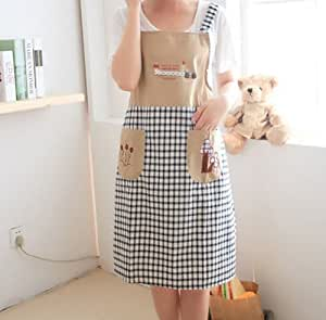 Ebuyingcity Cute Brown Grids Style Fashion Antifouling Housewife Home Chef Cooking Cotton Apron with Pockets