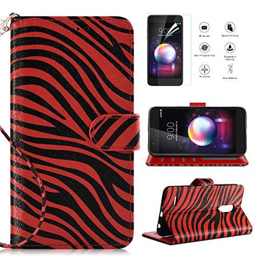 LG K30 Case,LG K10 2018/LG Premier Pro LTE/Harmony 2/LG CV3 Prime/LG Xpression Plus/LG Phoenix Plus Case w Screen Protector,Kickstand Card Slot Wrist Strap Flip Leather Zebra Wallet Phone Cover,Red