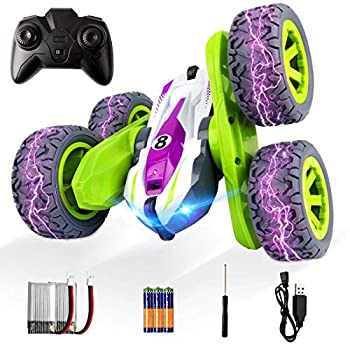 ADDSMILE Distant Management Automotive for Boys Women, RC Stunt Automotive 4WD 2.4Ghz Double Sided 360° Rotating RC Automobiles Excessive Pace Automobile Toy with Headlights for Youngsters Over 4 Years Outdated (All Batteries Included) (Inexperienced)