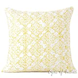 Eyes of India - 16'' Yellow Kantha Decorative Pillow Throw Sofa Cushion Cover Couch Indian Bohemian Colorful BohoCover Only